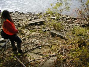 Remains of Venture Smith's wharf, Dr. Lucianne Lavin in photo